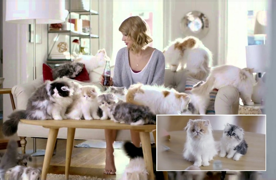 Morrendo com esses gatinhos nos bastidores do comercial Diet Coke + Taylor Swift