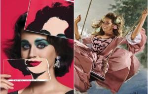 Katy Perry como Elizabeth Taylor e Mariah Carey como Maria Antonieta na revista Harper's Bazaar