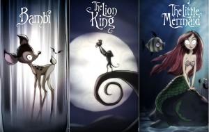 Artista recria cartazes de filmes clássicos da Disney ao estilo de Tim Burton