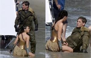 """Gal Gadot e Chris Pine gravam cena tensa de """"Mulher-Maravilha"""" em praia"""