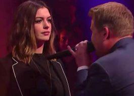 Anne Hathaway é zoada por James Corden em batalha de rap hilária