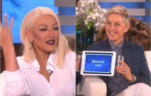 Christina Aguilera canta Beyoncé, Rihanna e Madonna em jogo com Ellen DeGeneres
