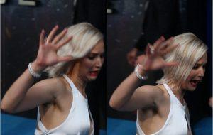 "Jennifer Lawrence tropeça de novo em tapete vermelho de ""X-Men: Apocalipse"""