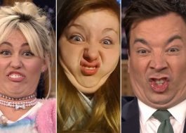 Miley Cyrus e Jimmy Fallon fazem uma disputa de caretas na TV