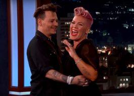P!nk fica toda envergonhada ao ser surpreendida por seu crush, Johnny Depp, na TV