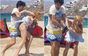 """Lindsay Lohan aparece em vídeo numa briga com o noivo e diz: """"Estou com medo do que ele possa fazer"""""""