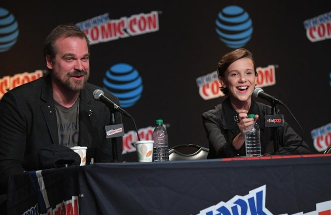 NEW YORK, NY - OCTOBER 07:  David Harbour and Millie Bobby Brown speak onstage at Inside the Upside Down with Millie Bobby Brown and David Harbour at Jacob Javits Center on October 7, 2016 in New York City.  (Photo by Mike Coppola/Getty Images)