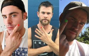 Zac Efron, Chris e Liam Hemsworth fazem a Paolla Oliveira e pintam unha para campanha