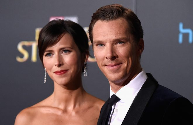 "HOLLYWOOD, CA - OCTOBER 20:  Actor Benedict Cumberbatch (R) and wife Sophie Hunter Premiere Of Disney And Marvel Studios' ""Doctor Strange"" on October 20, 2016 in Hollywood, California.  (Photo by Frazer Harrison/Getty Images)"