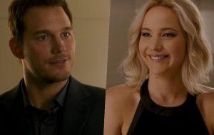 """""""Passageiros"""": Jennifer Lawrence e Chris Pratt lindos em primeiro encontro espacial"""