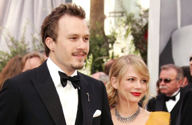 HOLLYWOOD - MARCH 05:  Actors Heath Ledger and Michelle Williams arrive to the 78th Annual Academy Awards at the Kodak Theatre on March 5, 2006 in Hollywood, California.  (Photo by Frazer Harrison/Getty Images)