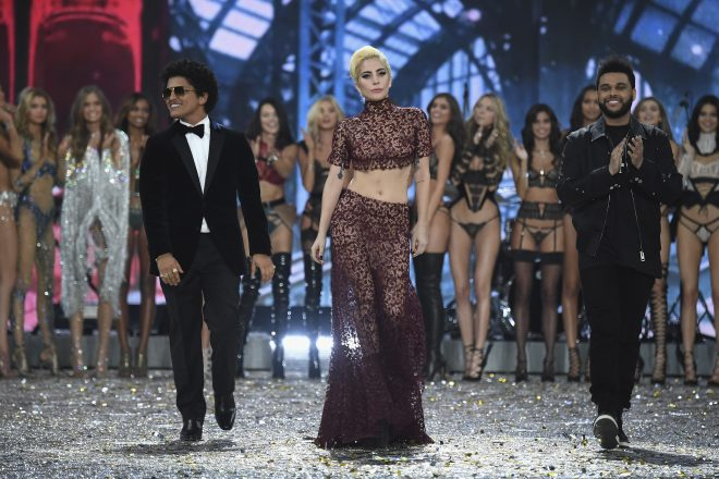 PARIS, FRANCE - NOVEMBER 30:  Bruno Mars, Lady Gaga and Weeknd walk the runway at the Victoria's Secret Fashion Show on November 30, 2016 in Paris, France.  (Photo by Pascal Le Segretain/Getty Images for Victoria's Secret)