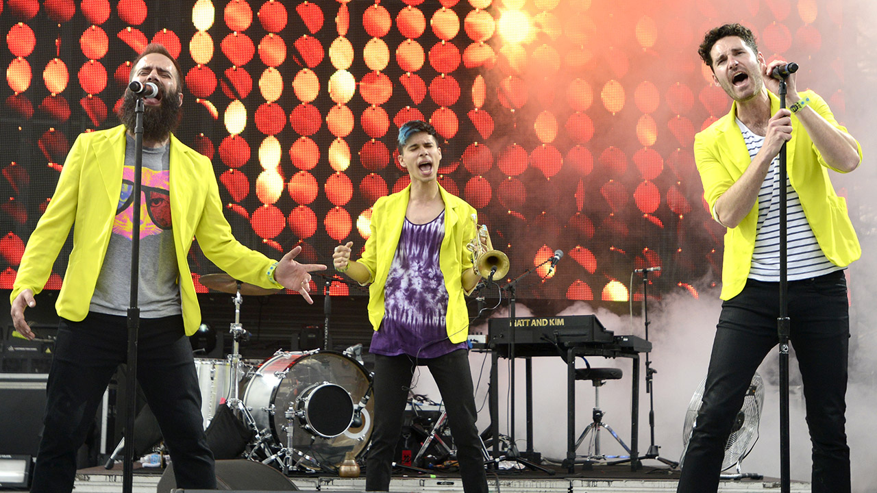 MIAMI, FL - MARCH 22: (L - R) Sebu Simonian, Spencer Ludwig, and Ryan Merchant of Capital Cities perform at the Ultra Music Festival on March 22, 2013 in Miami, Florida. (Photo by Tim Mosenfelder/Getty Images)