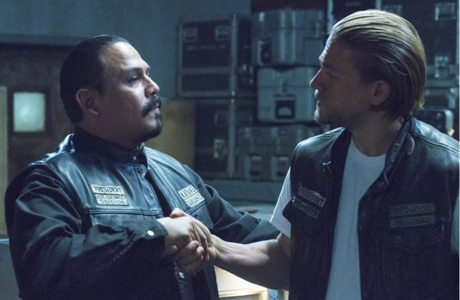 "SONS OF ANARCHY -- ""Suits of Woe "" -- Episode 711 -- Airs Tuesday, November 18, 10:00 pm e/p) -- Pictured: (L-R) Emilio Rivera as Marcus Alvarez, Charlie Hunnam as Jax Teller. CR: Prashant Gupta/FX"