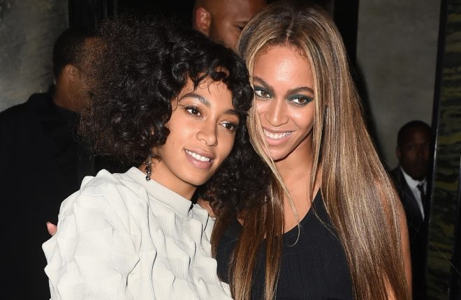 NEW YORK, NY - MAY 02:  Singers Solange Knowles and Beyonce attend the Balmain and Olivier Rousteing after the Met Gala Celebration on May 02, 2016 in New York, New York.  (Photo by Nicholas Hunt/Getty Images for Balmain)