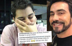 """Após selfie """"com sono"""", Evaristo leva bronca do Pe. Fábio: """"acorda que o jornal é HOJE!"""""""