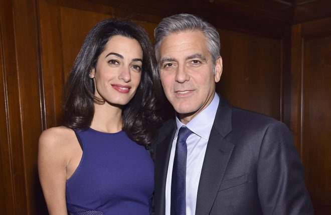 NEW YORK, NY - MARCH 10: Barrister Amal Clooney and actor George Clooney attend The 100 LIVES initiative, to express gratitude to the individuals and institutions whose heroic actions saved Armenian lives during the Genocide 100 years ago, on March 10, 2015 in New York City. The program, led by Ruben Vardanyan, Vartan Gregorian and Noubar Afeyan, establishes the Aurora Prize for Awakening Humanity as a means to empower modern-day saviors. During the event, the group reiterated the need to combat genocide and advance human rights efforts.  (Photo by Mike Coppola/Getty Images for 100 LIVES)