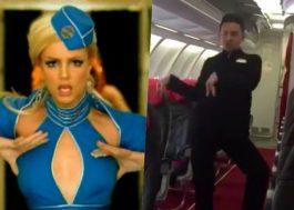 """Esse comissário de bordo fez a própria versão de """"Toxic"""" no avião, hahaha!"""