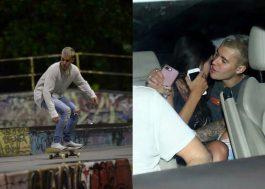 Após show no Rio, Justin Bieber anda de skate e deixa hotel acompanhado. Hmmm…