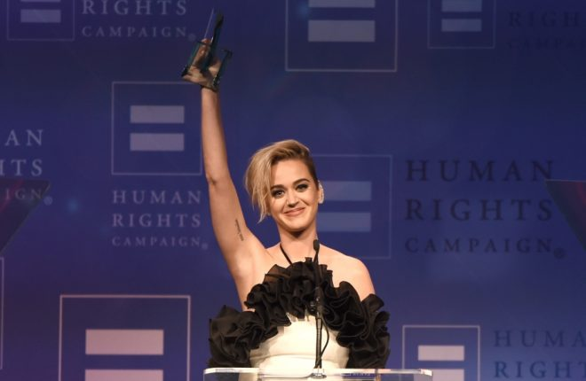 LOS ANGELES, CA - MARCH 18:  Honoree Katy Perry accepts the HRC National Equality Award onstage at The Human Rights Campaign 2017 Los Angeles Gala Dinner at JW Marriott Los Angeles at L.A. LIVE on March 18, 2017 in Los Angeles, California.  (Photo by Emma McIntyre/Getty Images for Human Rights Campaign)