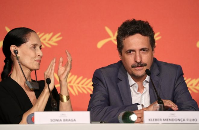 "CANNES, FRANCE - MAY 18:  Actress Sonia Braga and director Kleber Mendonca Filho attend the ""Aquarius"" Press Conference during the 69th annual Cannes Film Festival at the Palais des Festivals on May 18, 2016 in Cannes, France.  (Photo by Andreas Rentz/Getty Images)"