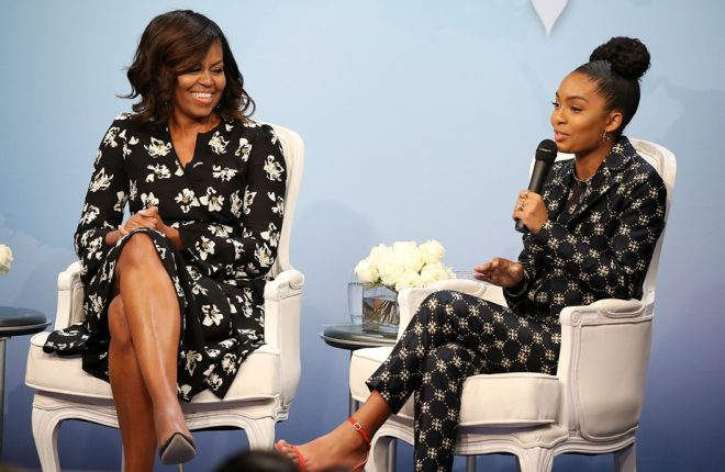 """WASHINGTON, DC - OCTOBER 11: First Lady of the United States Michelle Obama (L) and actress and activist Yara Shahidi participate in panel discussion at Glamour Hosts """"A Brighter Future: A Global Conversation on Girls' Education"""" with First Lady Michelle Obama at The Newseum on October 11, 2016 in Washington, DC.  (Photo by Paul Morigi/Getty Images for Glamour)"""