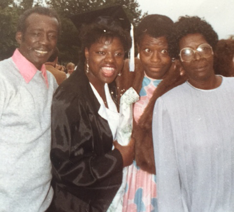Viola Davis graduation from Juilliard. (L-R) Dan Davis (Viola's father), Viola Davis, Mary Alice Davis (Viola's mother), and Mozell Logan (Viola's maternal grandmother) Courtesy Viola Davis