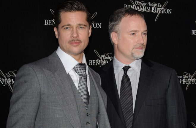 "PARIS - JANUARY 22:  Actor Brad Pitt (L) and Director David Fincher (R) attend ""The Curious Case of Benjamin Button"" Paris Premiere on January 22, 2009 at Gaumont Marignan in Paris, France. (Photo by Pascal Le Segretain/Getty Images)"