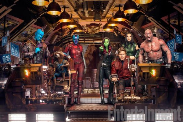 The Cast of Guardians of The Galaxy, from left to right, Michael Rooker as Yondu, Rocket, Karen Gillan as Nebula, Zoey Saldana as Gamora, Chris Pratt as Star-Lord, Pom Klementieff as Mantis, and Dave Bautista, Drax the Destroyer and  Baby Groot photographed exclusively for Entertainment Weekly on May 23, 2016 in Atlanta, Georgia.