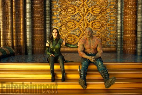 Guardians Of The Galaxy Vol. 2 L to R: Mantis (Pom Klementieff) and Drax (Dave Bautista) Ph: Film Frame ©Marvel Studios 2017