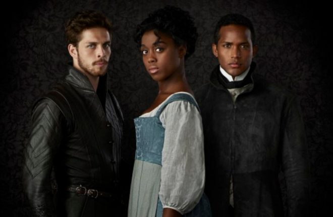 "STILL STAR-CROSSED - ABC's ""Still Star-Crossed"" stars Wade Briggs as Benvolio, Lashana Lynch as Rosaline and Sterling Sulieman as Prince Escalus. (ABC/Ed Herrera)"