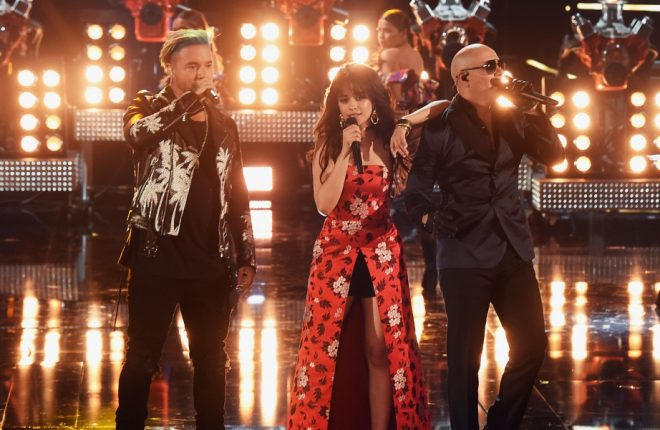 LOS ANGELES, CA - MAY 07:  (L-R) Singers J Balvin, Camila Cabello and Pitbull perform onstage during the 2017 MTV Movie And TV Awards at The Shrine Auditorium on May 7, 2017 in Los Angeles, California.  (Photo by Kevin Winter/Getty Images)