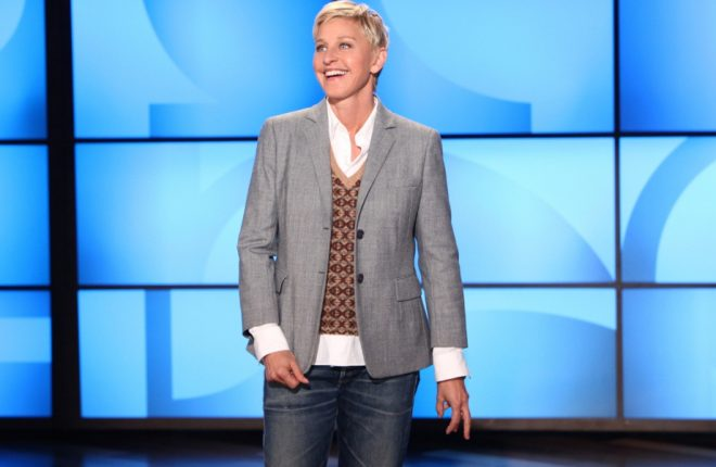 """In this photo released by Warner Bros., talk show host Ellen DeGeneres addresses her recent visit by the paramedics during a taping of """"The Ellen DeGeneres Show"""" on Monday, Sept. 26, 2011 in Burbank, Calif. DeGeneres says she's fine after feeling chest pains that prompted paramedics to respond to the Burbank studio. The episode will air on Tuesday, Sept. 27. (AP Photo/Warner Bros., Michael Rozman)"""
