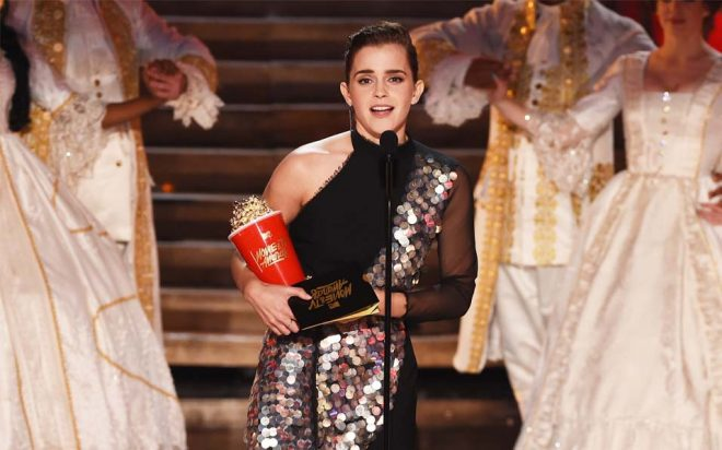LOS ANGELES, CA - MAY 07:  Actor Emma Watson accepts Best Actor in a Movie for 'Beauty and the Beast' onstage during the 2017 MTV Movie And TV Awards at The Shrine Auditorium on May 7, 2017 in Los Angeles, California.  (Photo by Kevin Winter/Getty Images)