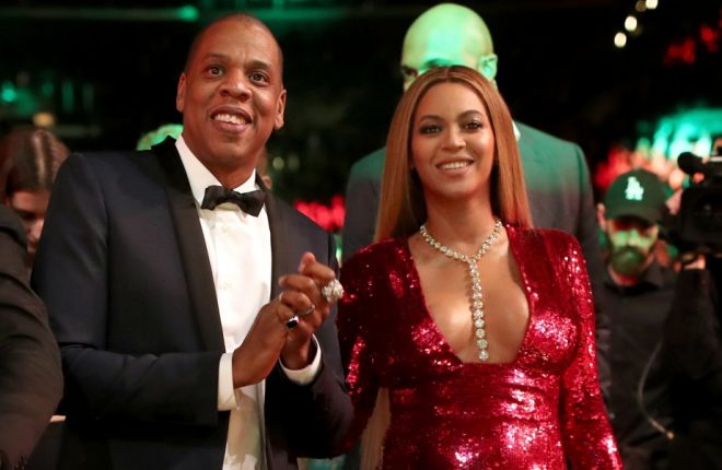 LOS ANGELES, CA - FEBRUARY 12:  (L-R) Singer Solange Knowles, Alan Ferguson, hip hop artist Jay-Z and singer Beyonce during The 59th GRAMMY Awards at STAPLES Center on February 12, 2017 in Los Angeles, California.  (Photo by Christopher Polk/Getty Images for NARAS)