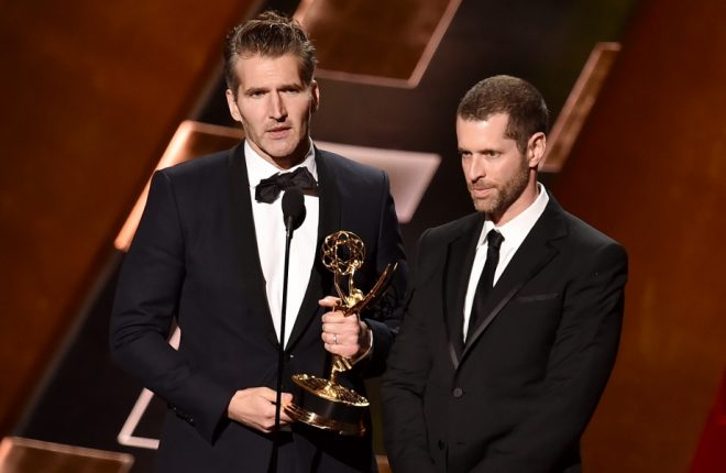 LOS ANGELES, CA - SEPTEMBER 20:  Writers David Benioff (L) and D.B. Weiss accept Outstanding Writing for a Drama Series award for 'Game of Thrones' onstage during the 67th Annual Primetime Emmy Awards at Microsoft Theater on September 20, 2015 in Los Angeles, California.  (Photo by Kevin Winter/Getty Images)