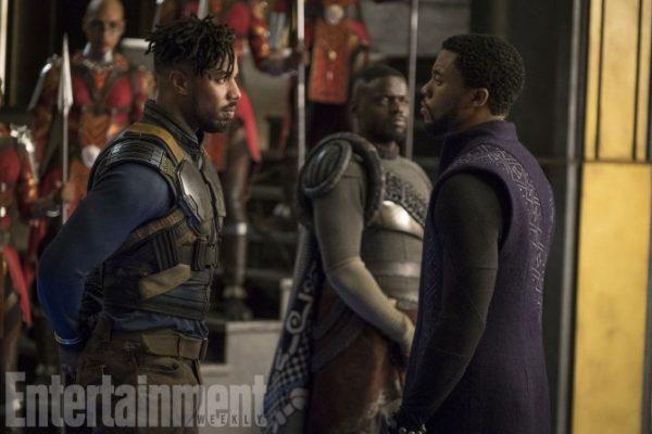 Marvel Studios' BLACK PANTHER L to R: Erik Killmonger (Michael B. Jordan) and T'Challa/Black Panther (Chadwick Boseman), b/g W'Kabi (Daniel Kaluuya) Credit: Matt Kennedy/©Marvel Studios 2018