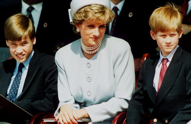 Princess Diana, Princess of Wales with her sons Prince William and Prince Harry attend the Heads of State VE Remembrance Service in Hyde Park on May 7, 1995 in London, England.