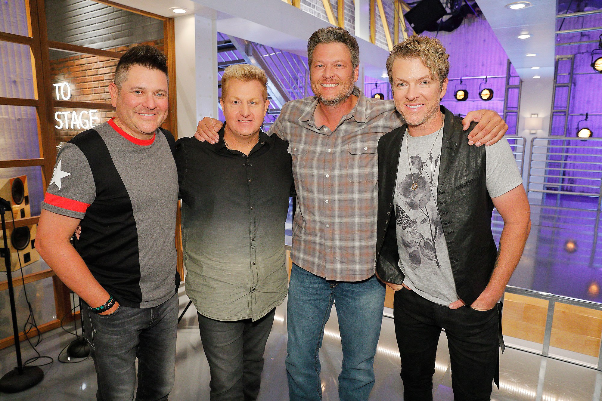"THE VOICE -- ""Battle Reality"" -- Pictured: (l-r) Jay DeMarcus, Gary LeVox, ""Rascal Flatts"", Blake Shelton (Center), Joe Don Rooney -- (Photo by: Trae Patton/NBC)"