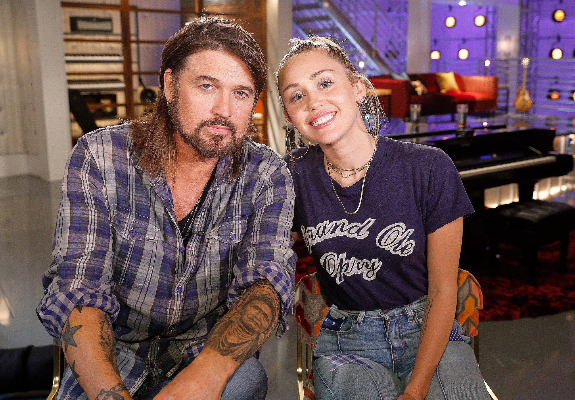 "THE VOICE -- ""Battle Reality"" -- Pictured: (l-r) Billy Ray Cyrus, Miley Cyrus -- (Photo by: Trae Patton/NBC)"