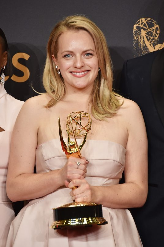 LOS ANGELES, CA - SEPTEMBER 17: Actor Elisabeth Moss, winner of Outstanding Lead Actress in a Drama Series for 'The Handmaid's Tale', poses in the press room during the 69th Annual Primetime Emmy Awards at Microsoft Theater on September 17, 2017 in Los Angeles, California. (Photo by Alberto E. Rodriguez/Getty Images)