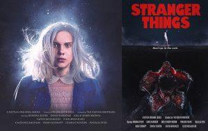 """""""Stranger Things"""" recria """"Alien"""", """"Tubarão"""", """"Evil Dead"""" e outros clássicos em pôsteres"""