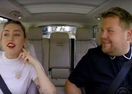 """No """"Carpool Karaoke"""", Miley Cyrus canta sucessos e diz em quais situações estava chapada"""