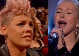 """P!nk nega """"deboche"""" em apresentação de Aguilera: """"Mostre a parte que estou em lágrimas"""""""