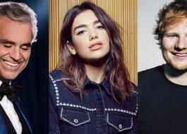 Novo disco de Andrea Bocelli terá duetos com Dua Lipa e Ed Sheeran
