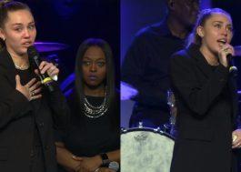 Miley Cyrus faz apresentação comovente no velório de Janice Freeman