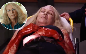 "Jamie Lee Curtis aparece coberta de sangue falso nos bastidores de ""Halloween Kills"""