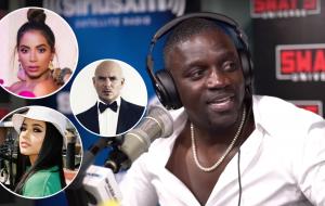 Akon mostra trechos de músicas com Becky G, Anitta e Pitbull