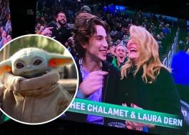 Laura Dern, maravilhosa, diz ter visto o Baby Yoda num jogo de basquete