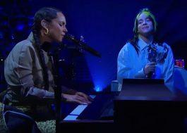 """Alicia Keys e Billie Eilish cantam """"Ocean Eyes"""" no programa do James Corden"""
